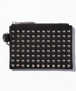 Leather wide coin case 'all‐studs' pointu