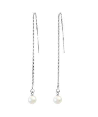 耳元でエレガントに揺れる あこや本真珠 ベビーパール 5.5~6mm 一粒ヨーロピアンピアス