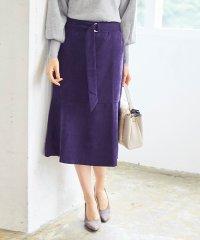 ベルト付裾フレアコーデュロイスカート