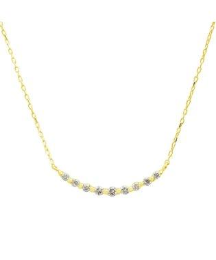 百貨店売れ筋!高級K18ゴールド 天然ダイヤモンド 計0.1ct ライン ネックレス 【K18YG イエローゴールド】