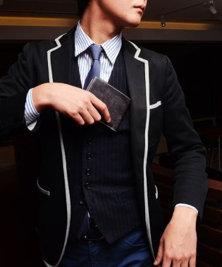 GUIONNET イタリア「オーソニア社」のブライドルレザーを贅沢に使用 イタリアン ブライドルレザー 二つ折り財布 PG202 メンズ
