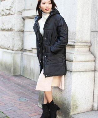 キルティングコート レディース ロングコート キレイ目 フード付き 中綿コート