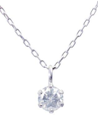 K18WG 天然ダイヤモンド 0.1ct 6本爪一粒ネックレス