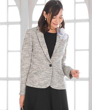 【卒業式・入学式・セレモニー・七五三対応】テーラードカラーニットツイードジャケット