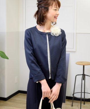 シャンブレーポンチノーカラージャケット【卒園式・卒業式・入園式・入学式】