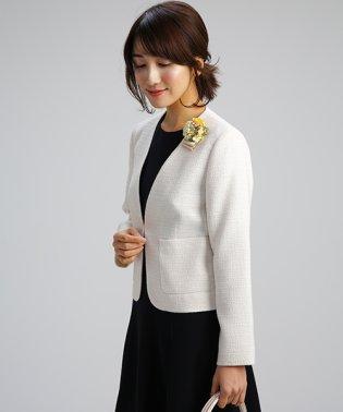 【卒業式・入学式・セレモニー・七五三対応】ノーカラーツイードジャケット