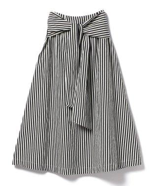 【洗える】Demi-Luxe BEAMS / コットンリネン ストライプスカート