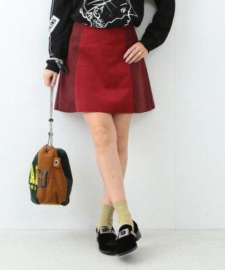 Ray BEAMS / フェイク スエード バイカラー ミニスカート