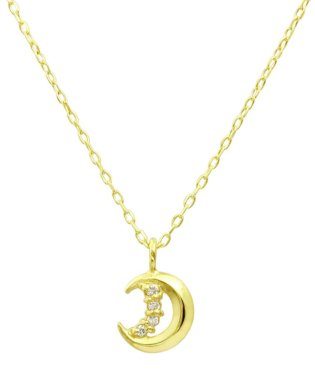 贅沢なオール18金ゴールド!K18ゴールド 天然ダイヤモンド ネックレス 選べる3カラー 【ムーン/K18YG】