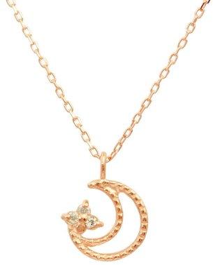 贅沢なオール18金ゴールド!K18ゴールド 天然ダイヤモンド ネックレス 選べる3カラー 【ムーンミル/K18PG】