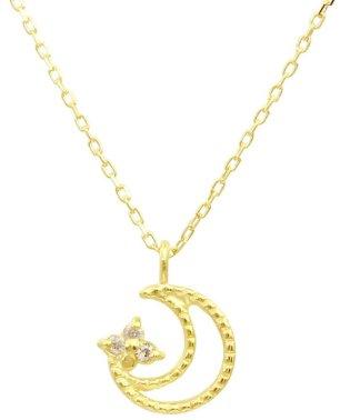 贅沢なオール18金ゴールド!K18ゴールド 天然ダイヤモンド ネックレス 選べる3カラー 【ムーンミル/K18YG】