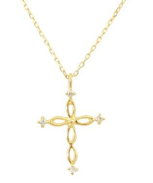 贅沢なオール18金ゴールド!K18ゴールド 天然ダイヤモンド ネックレス 選べる3カラー 【ツイストクロス/K18YG】