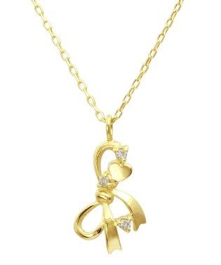 贅沢なオール18金ゴールド!K18ゴールド 天然ダイヤモンド ネックレス 選べる3カラー 【リボン/K18YG】