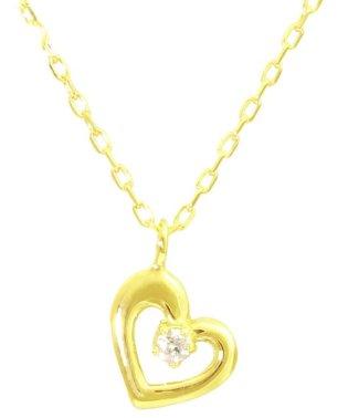 贅沢なオール18金ゴールド!K18ゴールド 天然ダイヤモンド ネックレス 選べる3カラー 【ハート/K18YG】