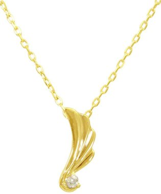 贅沢なオール18金ゴールド!K18ゴールド 天然ダイヤモンド ネックレス 選べる3カラー 【ウイング/K18YG】