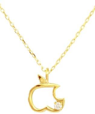 贅沢なオール18金ゴールド!K18ゴールド 天然ダイヤモンド ネックレス 選べる3カラー 【アップル/K18YG】