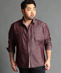 <大きいサイズ>シャンブレーツイルシャツ