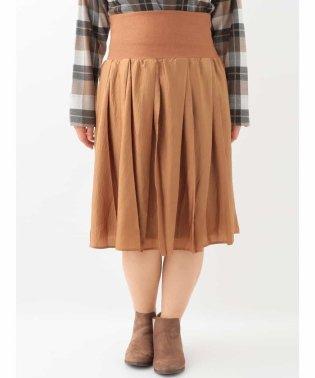 【大きいサイズ】ヴィンテージサテン変形プリーツスカート