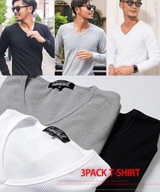 【3枚セット】CavariA【キャバリア】サーマルVネック長袖Tシャツ3枚セット3P