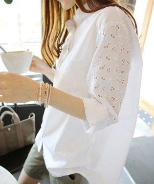 花柄透かし刺繍 ブラウス レディース 長袖 ロングシャツ 白 ゆったり トップス 春夏