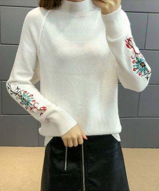 花柄刺繍 ニット トップス レディース 春 服 薄手 セーター ニットソー 長袖
