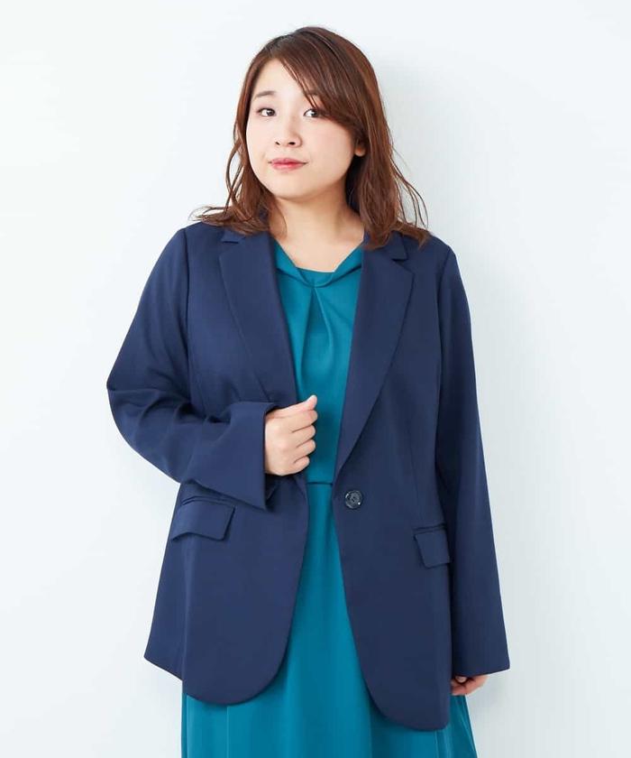 【大きいサイズ】【セットアップ】お仕事に!きれいを追求したシルエットのジャケット