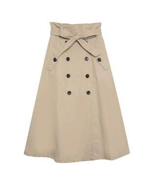 綿ツイルウエストリボンフレアトレンチスカート