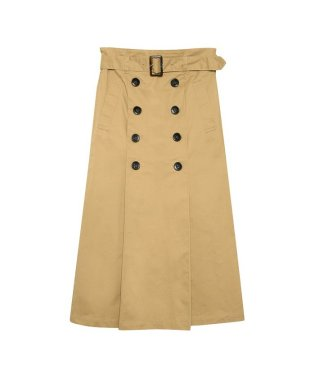 綿ツイルベルトつきタックトレンチスカート