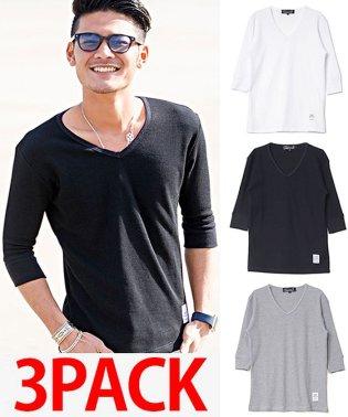 【3枚セット】CavariA【キャバリア】3Pパック サーマルVネック6分袖Tシャツ/ホワイト ブラック グレー