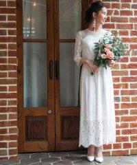 【結婚式・ウェディングドレス】troisieme chaco/レース×ドットチュール 袖付きロングウェディングドレス