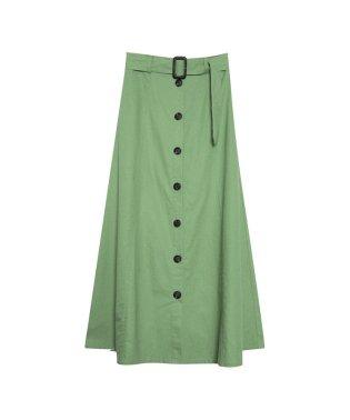 ベルト付前ボタン麻スカート