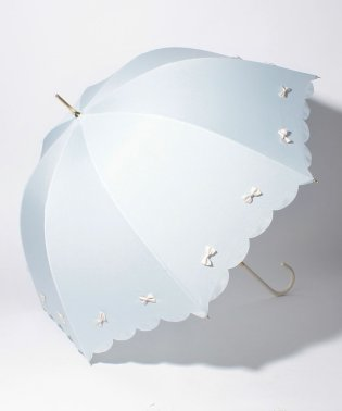 雨晴兼用 長傘 (UVカット&軽量) カラフルリボンサックスブルー×オフホワイト