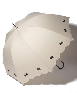 雨晴兼用 長傘 (UVカット&軽量) カラフルリボンベージュ×ブラック