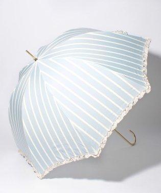 雨晴兼用 長傘 (UVカット&軽量) ストライプサックスブルー×オフホワイト