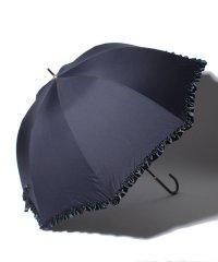 雨晴兼用 コンパクト 長傘 (UVカット&軽量)  フリルネイビー