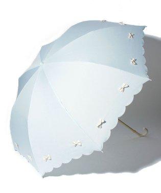 雨晴兼用 折傘 (UVカット&軽量) カラフルリボンサックスブルー×オフホワイト