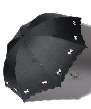 雨晴兼用 折傘 (UVカット&軽量) カラフルリボンブラック×オフホワイト