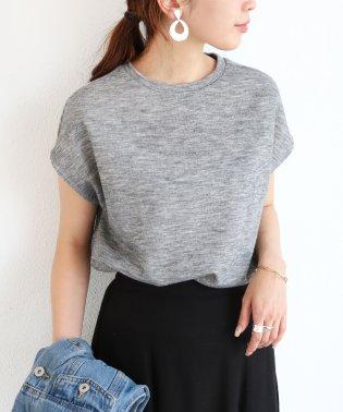 【L-8】フレンチスリーブ ニット カットソー 半袖 Tシャツ トップス