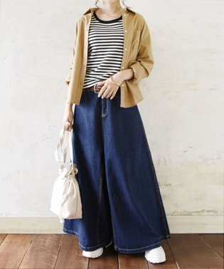 スカートデザインワイドバギーパンツ