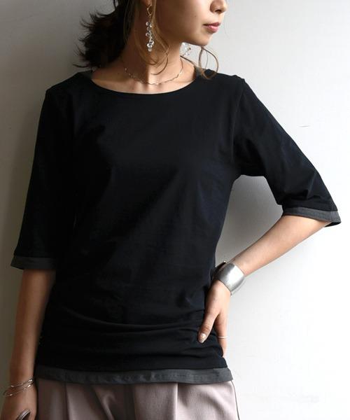 カットソー トップス Tシャツ tシャツ ロング丈 レディース フェイクレイヤードくしゅくしゅシャーリング5分袖カットソー 五分袖 無地 ロングtシャツ プルオ