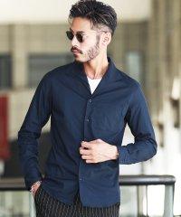ストレッチ ブロード イタリアンカラー シャツ / 無地 長袖シャツ メンズ