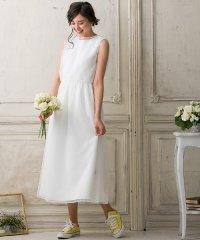 【結婚式・ウェディングドレス】kaene/ギャザーフレアワンピース&ドットチュールワンピース セットアップドレス