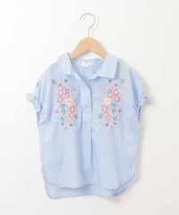 [100-130]フラワーエンブロイダリーストライプシャツ[WEB限定サイズ]