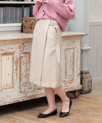 【セットアップ対応】【洗える】リネンクロスラップ風スカート