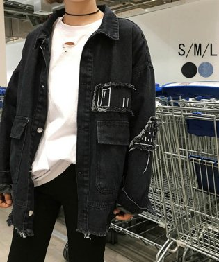 デニム ジャケット ジージャン アウター ダメージ加工 韓国風 刺繍 カジュアル 体型カバー 即納