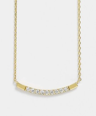 K10 ダイヤモンド9石 カーブ横型ネックレス(YG)