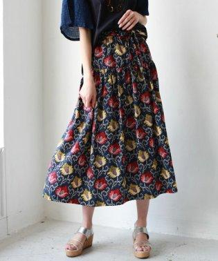 【Cu】ウエストリボンフラワー柄フレアスカート