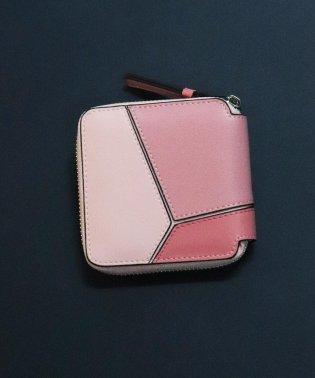 【牛革】配色パネルジップミニウォレット/二つ折り財布