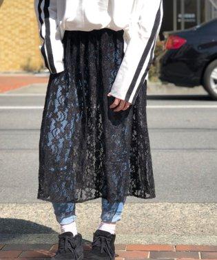 ペチコート付花柄総レースミモレ丈スカート