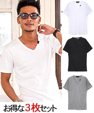 CavariA【キャバリア】3PパックフライスVネック半袖Tシャツ
